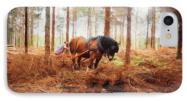 Gentle Giant - Horse At Work In Forest IPhone Case by Jayne Wilson