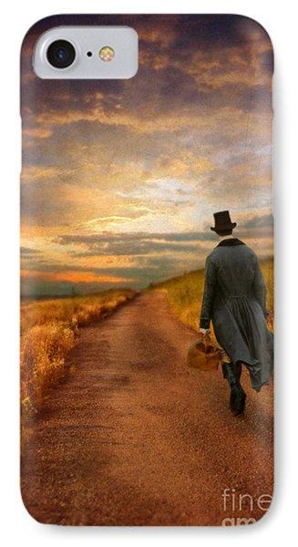 Gentleman Walking On Rural Road Phone Case by Jill Battaglia