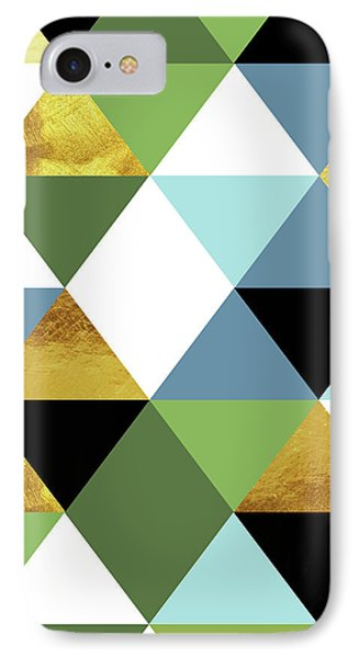 Geometric Abstract 81, Triangles, Gold, Greenery, Niagara, Kale IPhone Case by Tina Lavoie