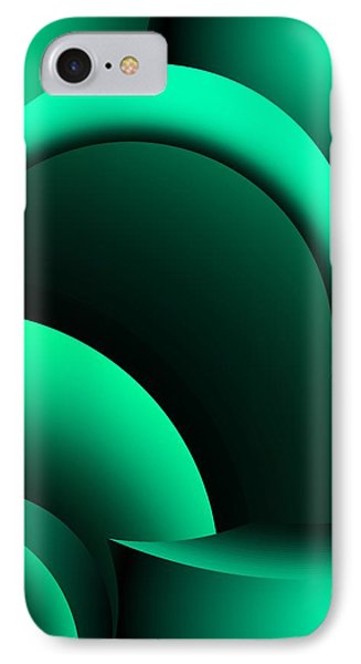Geometric Abstract In Green Phone Case by David Lane