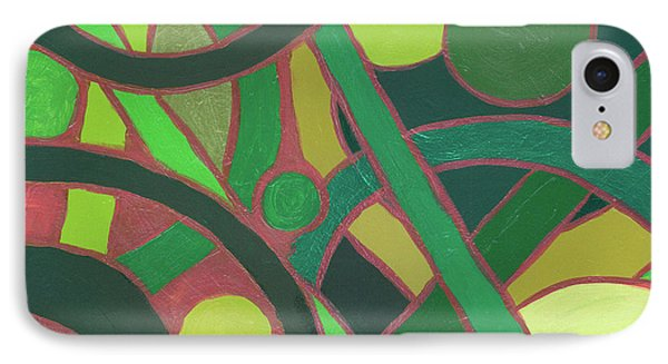 IPhone Case featuring the painting Geometric Study Green On Copper by Ania M Milo