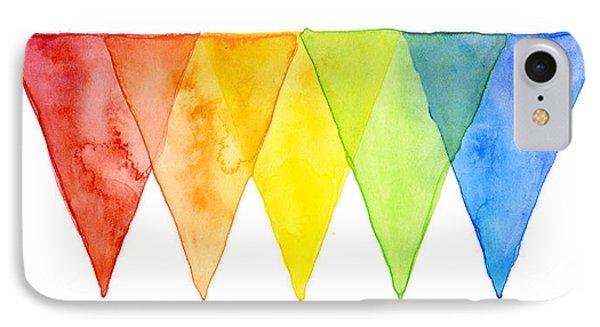 Geometric Watercolor Pattern Rainbow Triangles IPhone Case by Olga Shvartsur