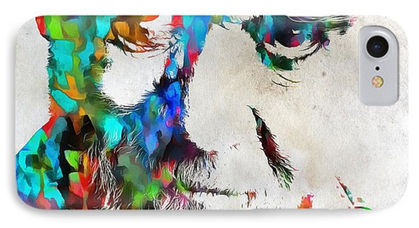George Carlin Watercolor Abstract IPhone Case by Dan Sproul