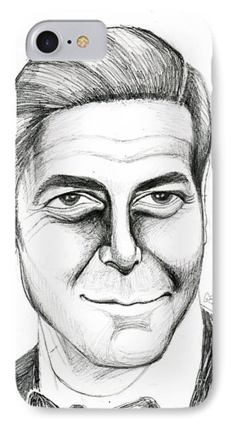 George Clooney IPhone Case by Genevieve Esson