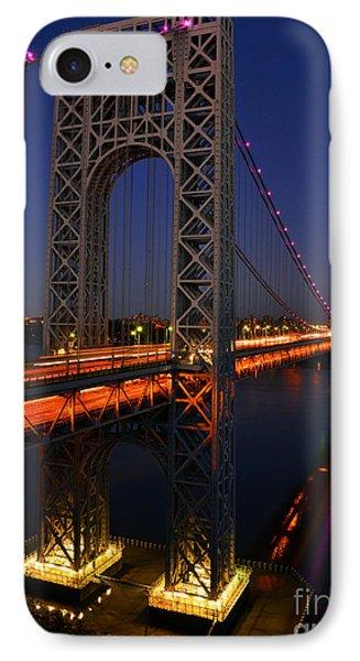 George Washington Bridge At Night IPhone Case by Zawhaus Photography