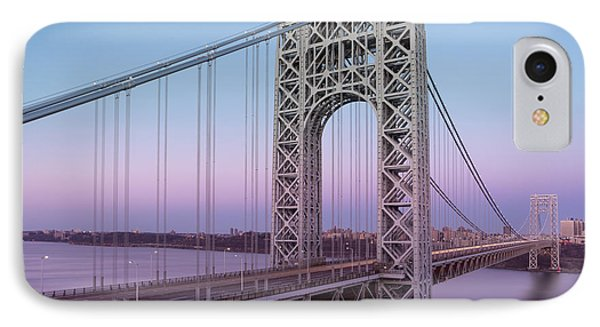George Washington Bridge End Of Day IPhone Case by Susan Candelario