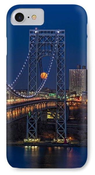 George Washington Bridge Full Moonrise IPhone Case by Susan Candelario