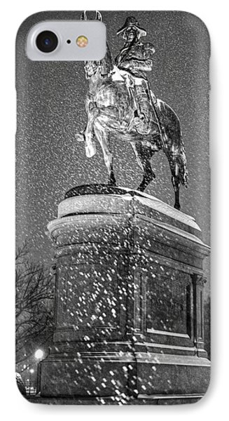 George Washington Statue Boston Public Garden Boston Ma Black And White IPhone Case by Toby McGuire