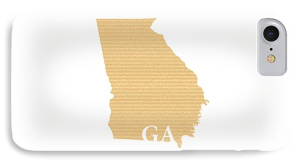 Georgia State Map With Text Of Constitution IPhone Case