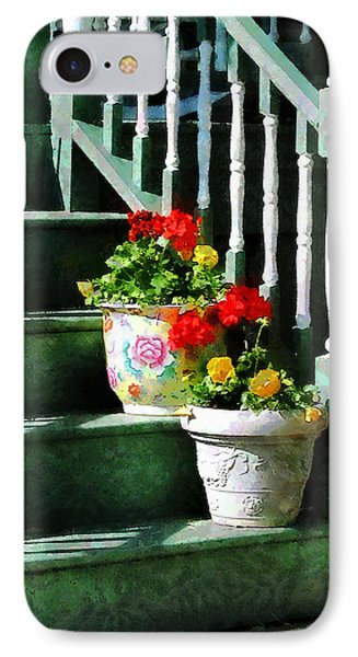 Geraniums And Pansies On Steps Phone Case by Susan Savad