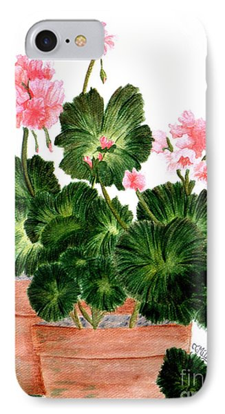 Geraniums In Clay Pots IPhone Case by Terri Mills