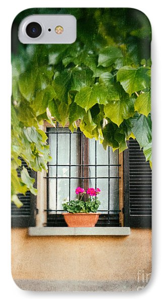 IPhone Case featuring the photograph Geraniums On Windowsill by Silvia Ganora