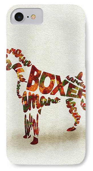 German Boxer Watercolor Painting / Typographic Art IPhone Case