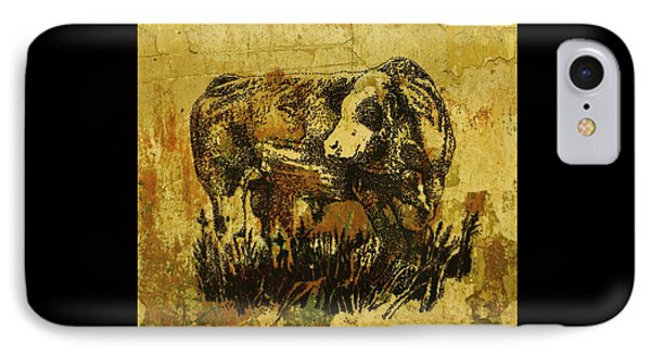 IPhone Case featuring the drawing German Fleckvieh Bull 21 by Larry Campbell