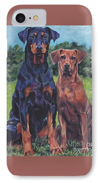 IPhone Case featuring the painting German Pinschers by Lee Ann Shepard