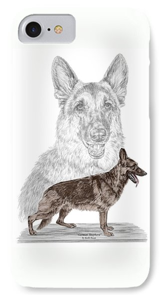 German Shepherd Art Print - Color Tinted IPhone Case by Kelli Swan
