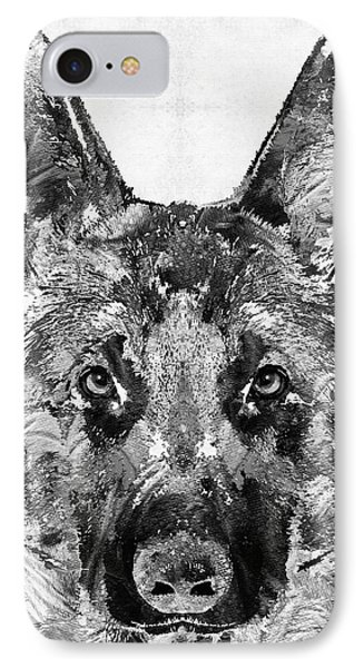 German Shepherd Black And White By Sharon Cummings IPhone Case