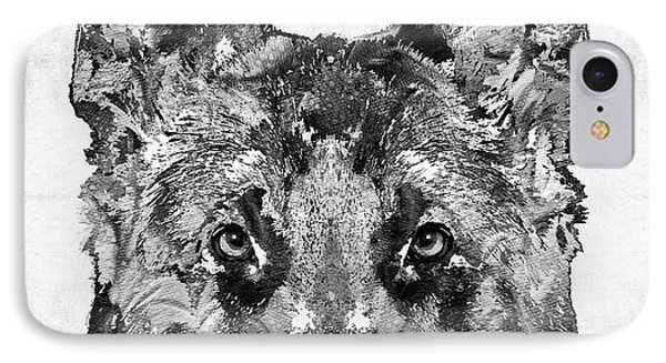 IPhone Case featuring the painting German Shepherd Black And White By Sharon Cummings by Sharon Cummings
