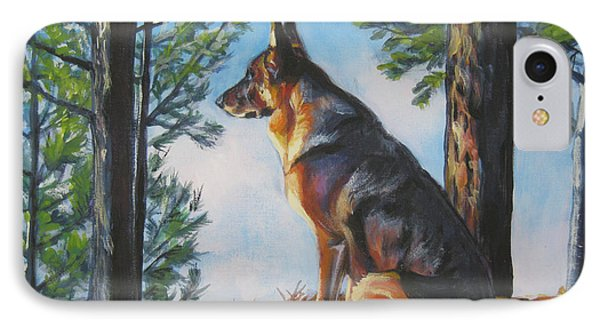 German Shepherd Lookout IPhone Case by Lee Ann Shepard