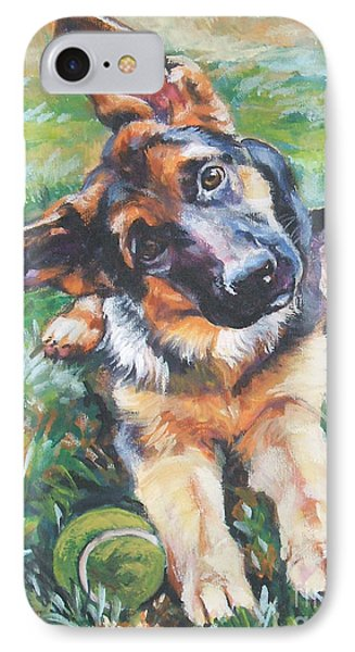 German Shepherd Pup With Ball IPhone Case by Lee Ann Shepard