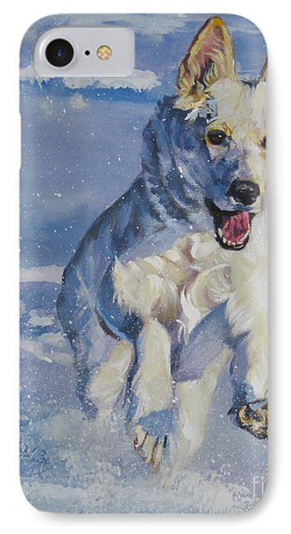 German Shepherd White In Snow IPhone Case by Lee Ann Shepard