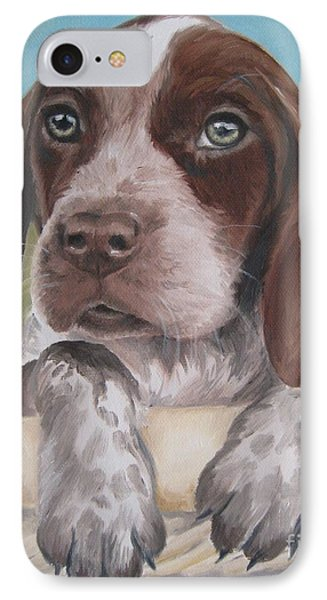 IPhone Case featuring the painting German Shorhaired Pointer Puppy by Jindra Noewi
