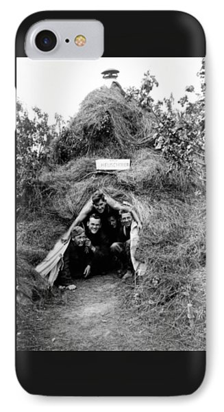 German Soldiers In Haystack Tent In Russia IPhone Case by Charles Meagher