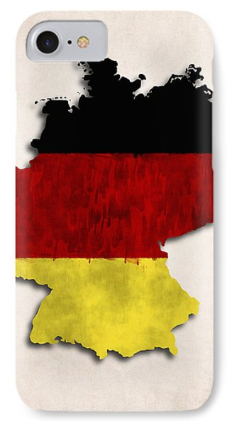 Germany Map Art With Flag Design IPhone Case by World Art Prints And Designs