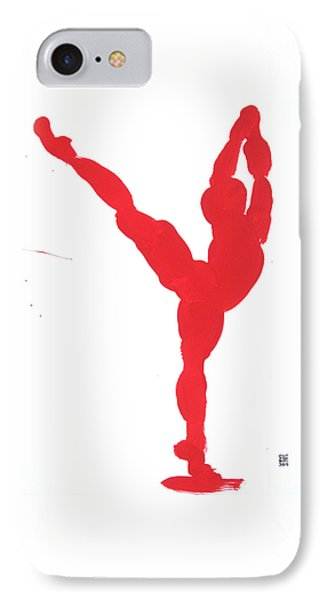 IPhone Case featuring the painting Gesture Brush Red 1 by Shungaboy X