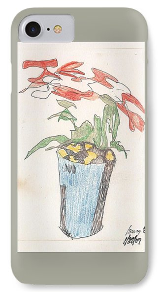 IPhone Case featuring the drawing Gesture Drawing Of Poinsettia by Rod Ismay