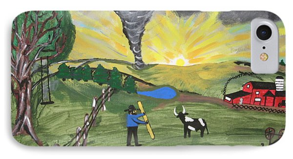 IPhone Case featuring the painting Get In The Barn by Jeffrey Koss