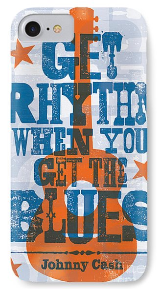 Get Rhythm - Johnny Cash Lyric Poster IPhone Case