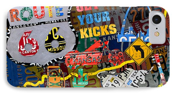 Get Your Kicks On Route 66 Icons Along The Highway Recycled Vintage License Plate Art IPhone Case by Design Turnpike