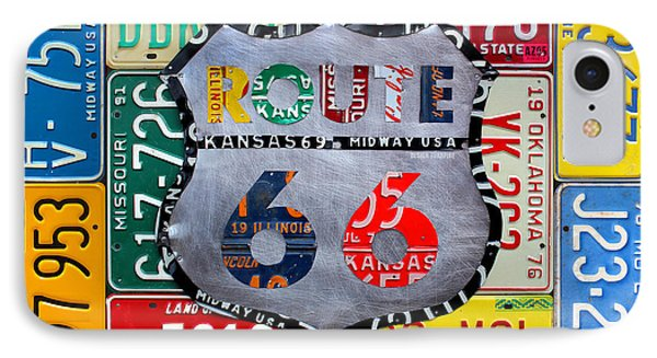 Get Your Kicks On Route 66 Recycled Vintage State License Plate Art By Design Turnpike IPhone Case by Design Turnpike