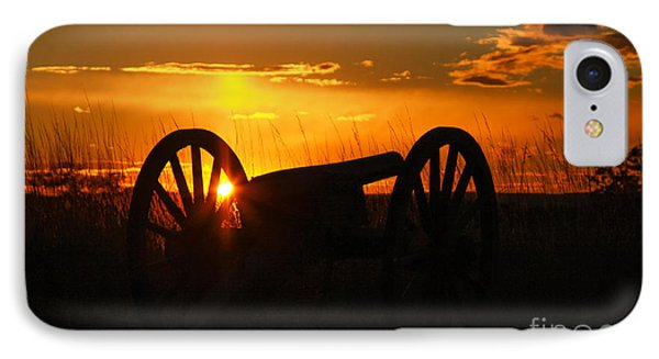 Gettysburg Cannon Sunset IPhone Case by Randy Steele
