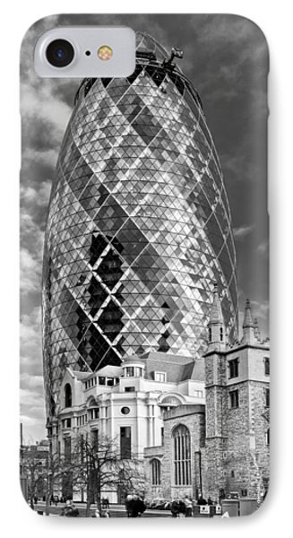 Gherkin And St Andrew's Black And White Phone Case by Gary Eason