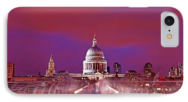 Ghostly Commuters Head To St Pauls On Millennium Bridge Phone Case by Chris Smith
