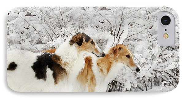 IPhone Case featuring the photograph giant Borzoi hounds in winter by Christian Lagereek