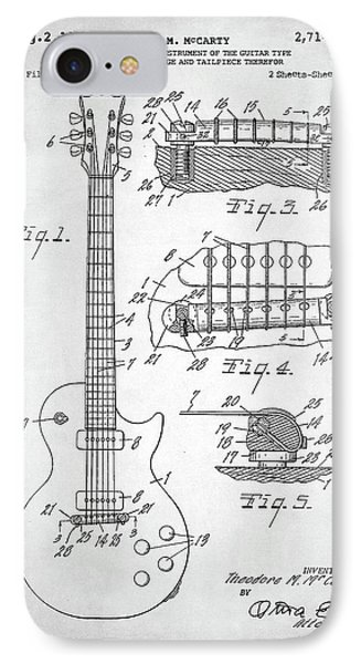 Gibson Les Paul Electric Guitar Patent IPhone Case by Taylan Apukovska