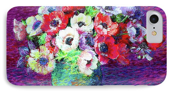 Gift Of Flowers, Red, Blue And White Anemone Poppies IPhone Case by Jane Small