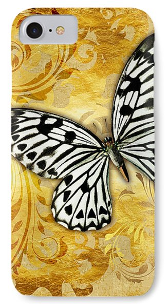 Gilded Garden A Butterfly Amidst Golden Floral Shapes IPhone Case