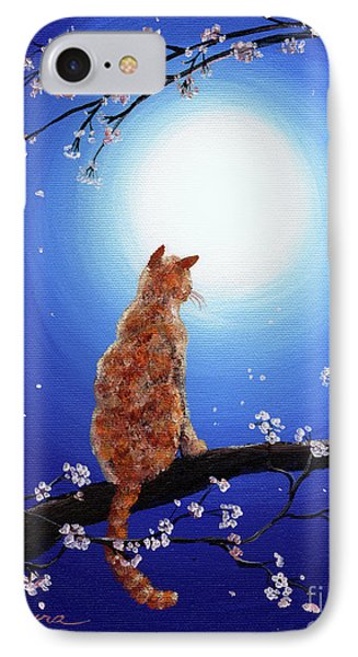 Ginger Cat In Blue Moonlight IPhone Case by Laura Iverson