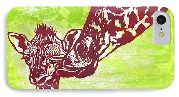 Mum's Kissing - Giraffe Stylised Pop Art Poster IPhone Case by Kim Wang