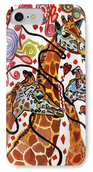 Giraffe Birthday Party IPhone Case by Connie Valasco