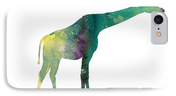 Giraffe Colorful Watercolor Painting IPhone Case by Joanna Szmerdt