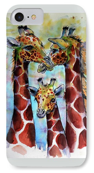 IPhone Case featuring the painting Giraffe Family by Kovacs Anna Brigitta