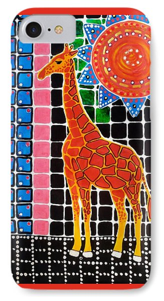 IPhone Case featuring the painting Giraffe In The Bathroom - Art By Dora Hathazi Mendes by Dora Hathazi Mendes