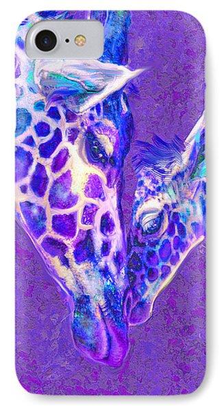 IPhone Case featuring the digital art Giraffe Love 515 by Jane Schnetlage
