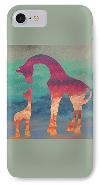 Giraffe Love Mother And Child IPhone Case by Terry DeLuco