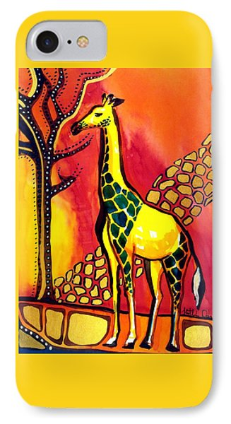 Giraffe With Fire  IPhone Case by Dora Hathazi Mendes